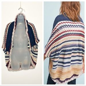 Moth oversized crochet striped boho shawl cardigan